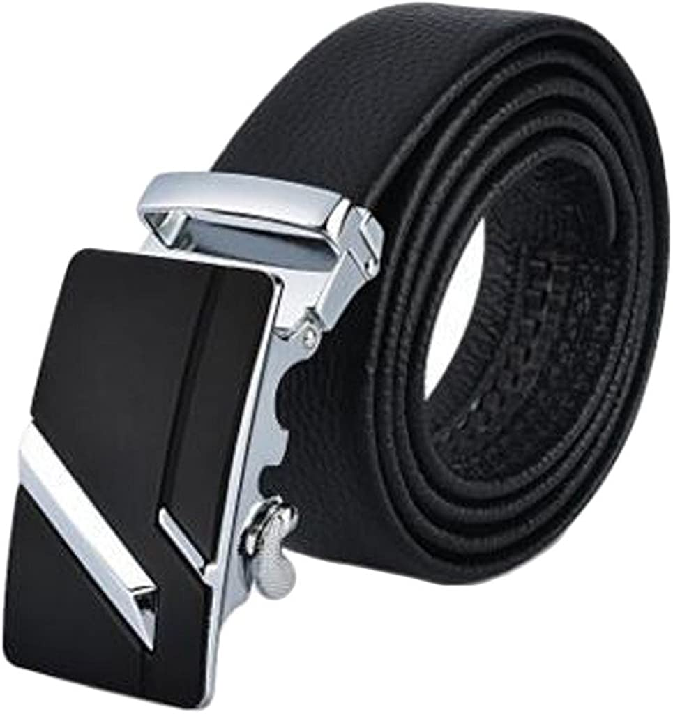 Wadai Mens Business Automatic Buckle Classic Stitched Genuine Leather Belt