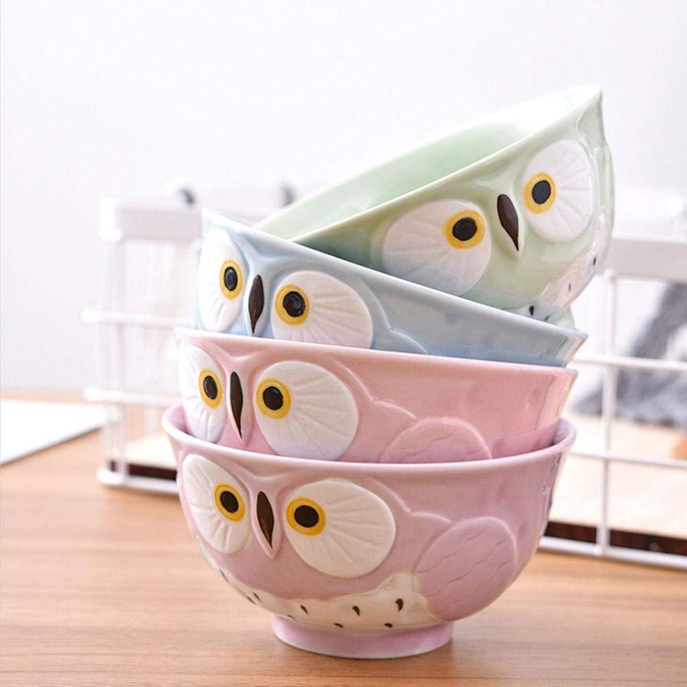 Cute Owl Thread Bowl for Rice,Soup Bowl,Thread Bowl 12.7CM x 12.7CM x 6.7CM. Ceramic Bowl Resistant High-Temperature
