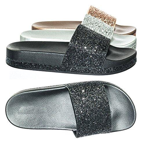For Alltid Kobles Rhinestone & Glitter Lysbilde I Pvc-mellomsåle Flatform Sandal Tøfler Sorte