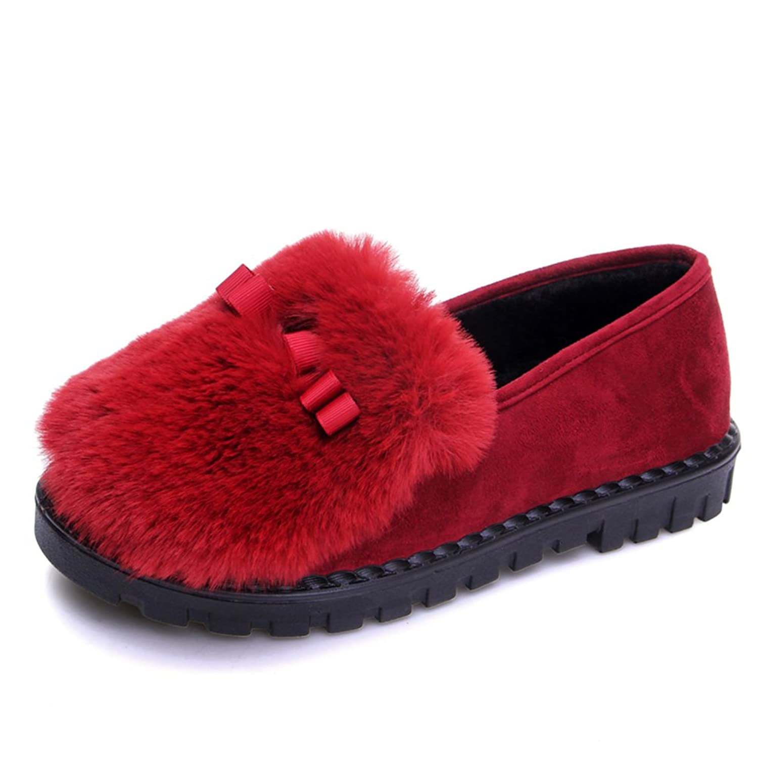 VASHOP Women's Fur Lined Bowknot Slip-On Full Treaded Sole Flat Winter Shoes