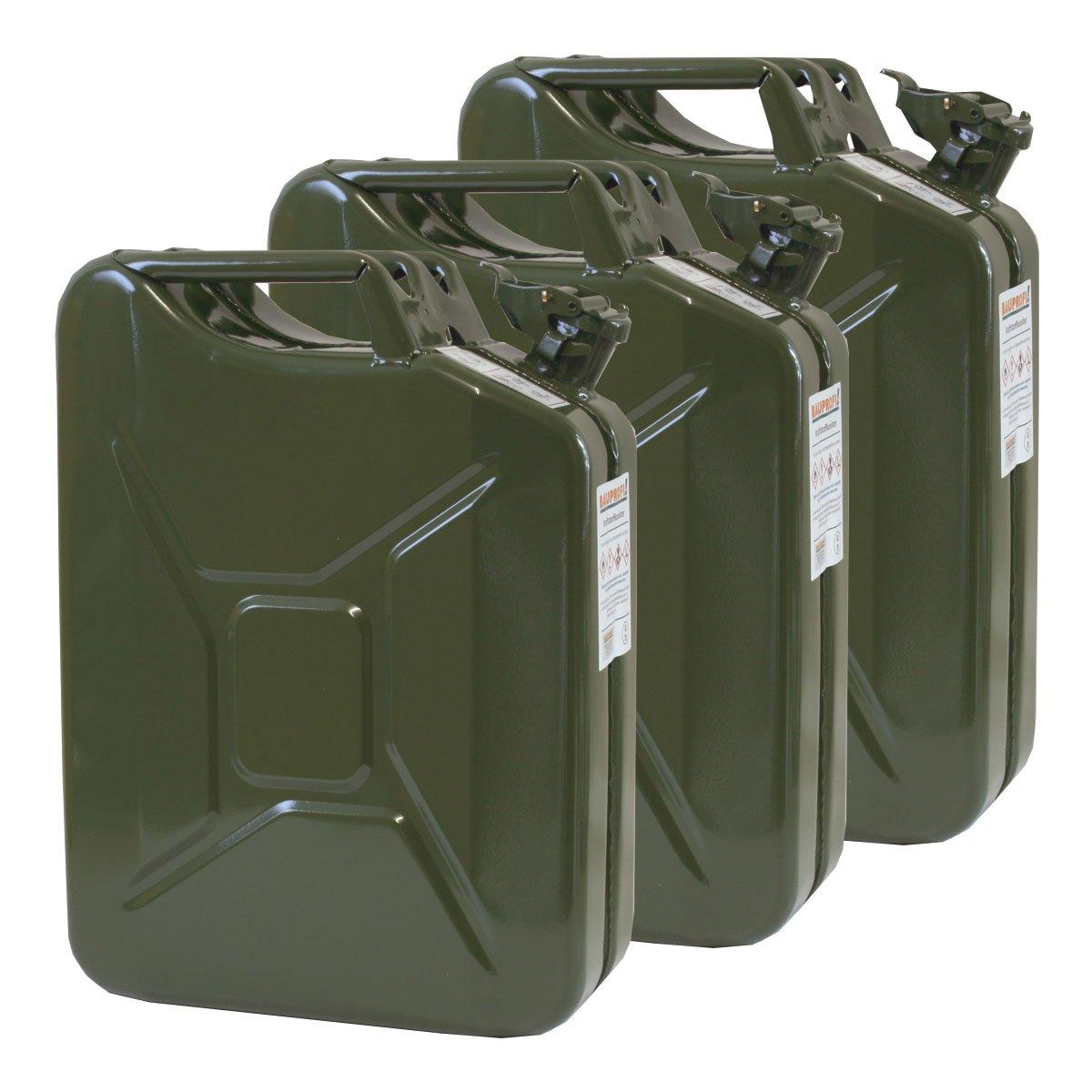 3x Oxid7® Benzinkanister Kraftstoffkanister Metall 20 Liter Olivgrün mit UN-Zulassung - TÜV Rheinland Zertifiziert - Bauart geprüft 4052704053475