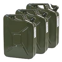3x Oxid7® Benzinkanister Kraftstoffkanister Metall 20 Liter Olivgrün mit UN-Zulassung - TÜV Rheinland Zertifiziert - Bauart geprüft