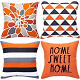 WLNUI Set of 4 Decorative Pillow Covers 18x18 Inch Orange Geometric Modern Throw Pillow Covers Home Sweet Home Decorative Squ