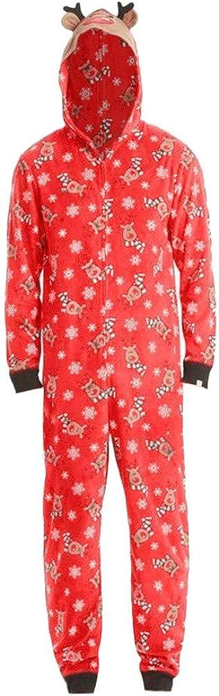 Mambain Costume Natale Famiglia,Tutine Pigiama Intero di Natale Manica Lungo con con Cappuccio Cerniera Caldo Natalizio Sleepwear Renna Stampa Abbigliamento Natale Famiglia