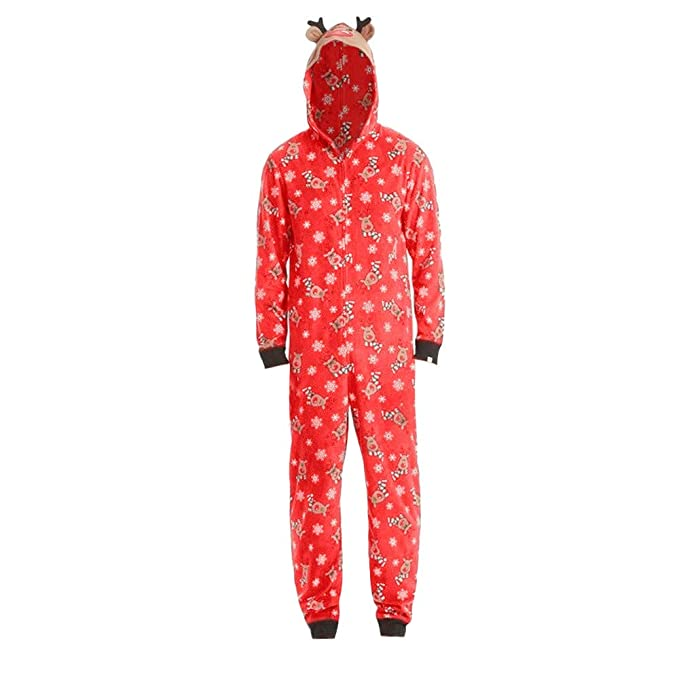 601b2b20f9 Kingspinner Matching Family Christmas Boys Girls Pajamas Reindeer Hooded  Zipper Romper Jumpsuit Sleepwear Outfit Sets (