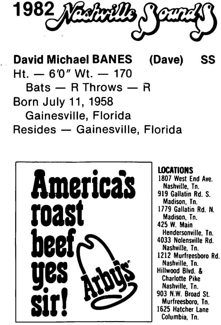 amazon com 1982 nashville sounds team issue baseball nno dave banes nashville sounds official milb trading card in raw condition ex mt or better collectibles fine art amazon com