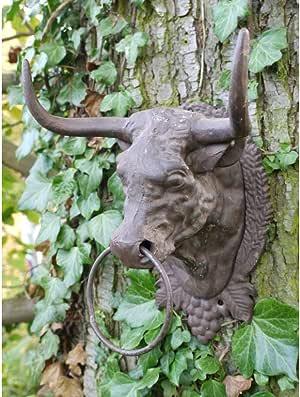 Montado en la pared cabeza de toro vaca adorno de jardín decoración de metal con anilla para colgar de hierro fundido: Amazon.es: Jardín