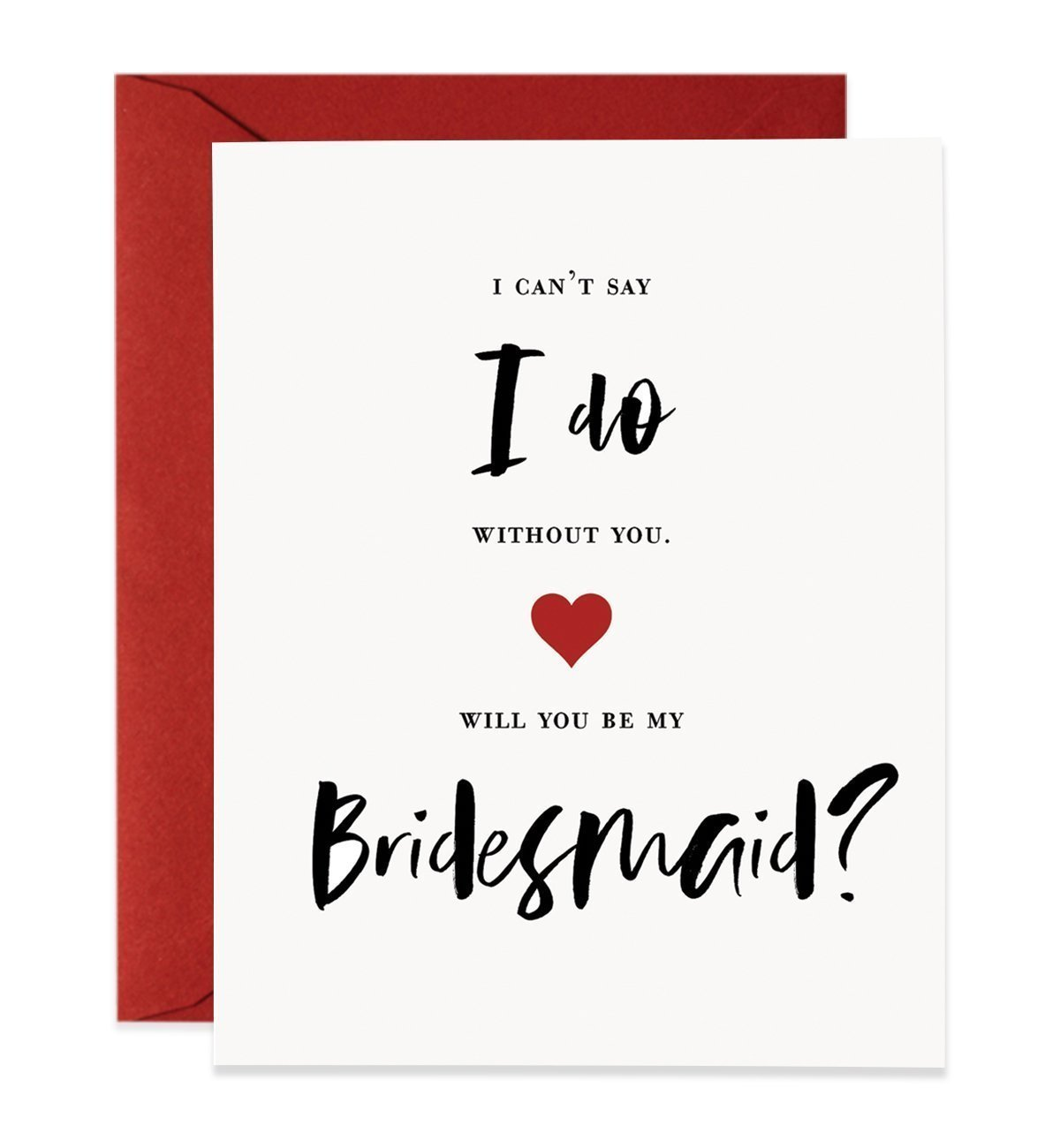 Will You Be My Bridesmaid Proposal Cards (Set of 5) Red & Black Wedding Engaged Bridal Party Modern Lettering Brides maids Card Box Pack with Red Envelopes CW0016-1