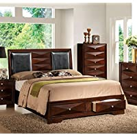 ACME Windsor  Merlot Eastern King Bed with Storage
