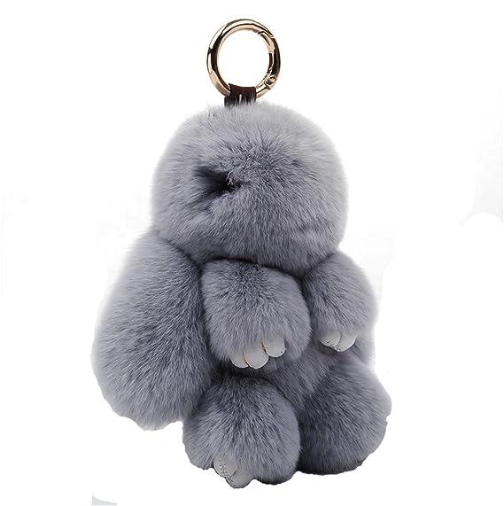 Amazon.com   USONG Rabbit Bunny Fluffy Plush Doll Pendant Keychain ... 789862e2c
