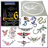 Master Airbrush® Brand Airbrush Tattoo Stencils Set Book #6 Reuseable Tattoo Template Set, Book Contains 15 Unique Large Sized Stencil Designs, All Patterns Come on High Quality Vinyl Sheets with a Self Adhesive Backing.