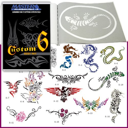 Skull Master Airbrush Templates (Master Airbrush® Brand Airbrush Tattoo Stencils Set Book #6 Reuseable Tattoo Template Set, Book Contains 15 Unique Large Sized Stencil Designs, All Patterns Come on High Quality Vinyl Sheets with a Self Adhesive Backing.)