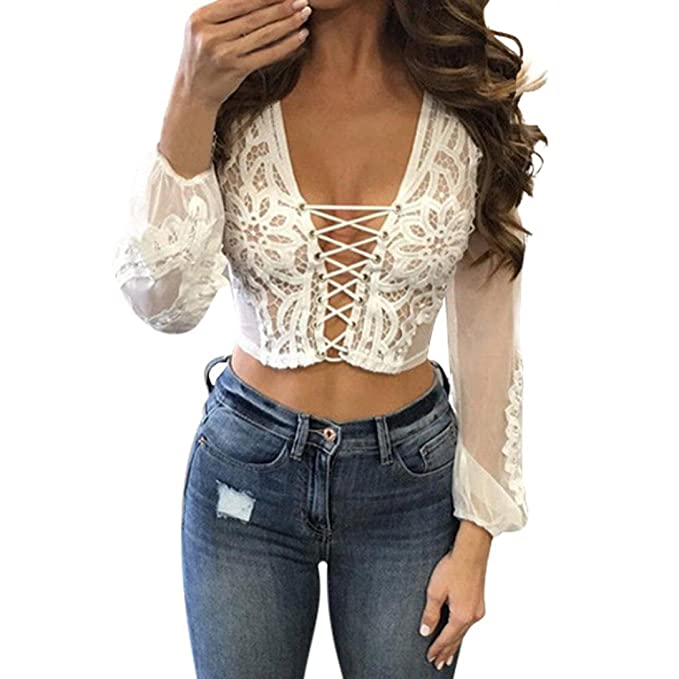 5eeec5560b6 Women See Through Lace Mesh Sheer Long Sleeve Crop Top T Shirt Blouse Tee (S