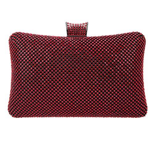 Red Bags Crystal For Bag Evening Clutch Women Black Bonjanvye Rhinestone q4z5awCSnx