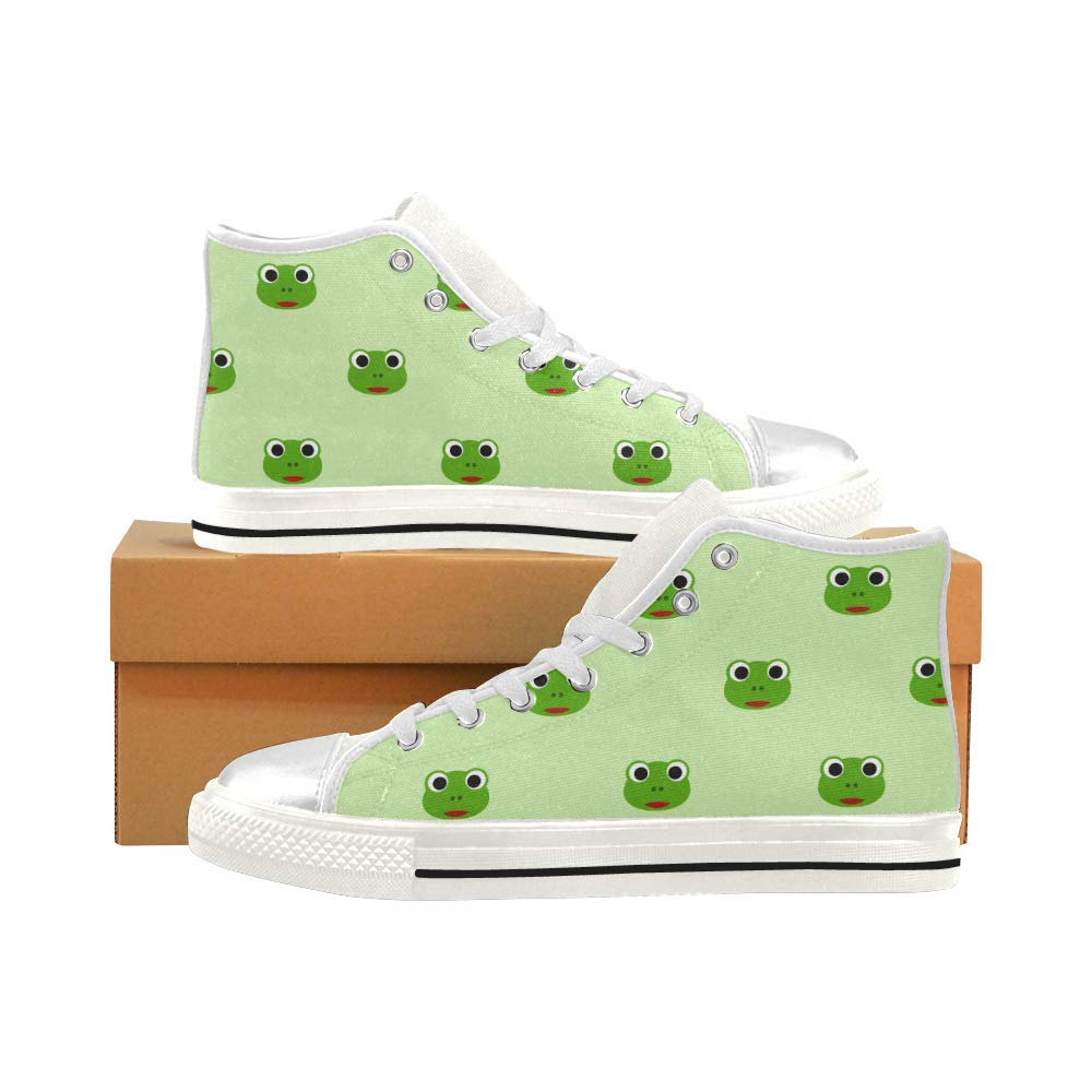 INTERESTPRINT Frog Aquila High Top Canvas Shoes for Big Kids Boys Girls Green