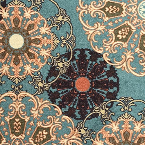 ottomanson ottohome collection aqua blue damask design runner rug