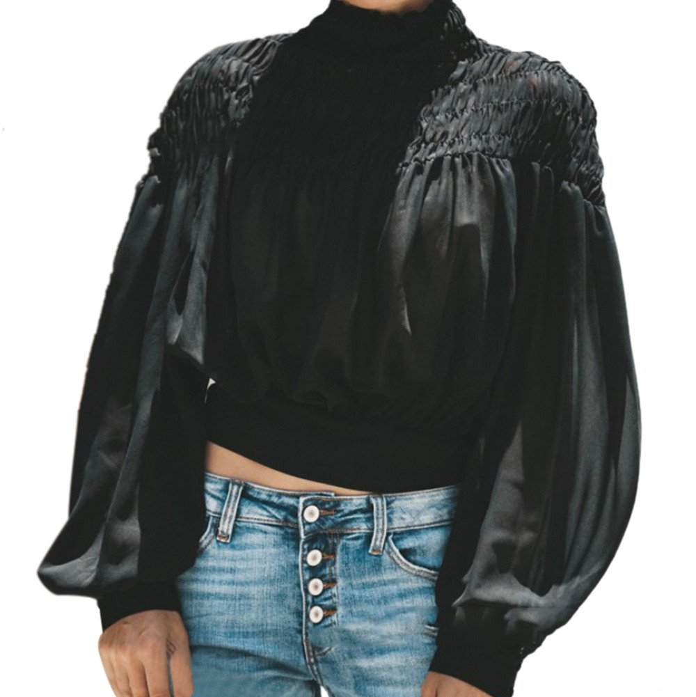 Blouse For Women-Clearance Sale, Farjing Fashion Solid Blouse Turtleneck Ruched Lantern Long Sleeve Shirt Loose Top(US:10/XL,Black)