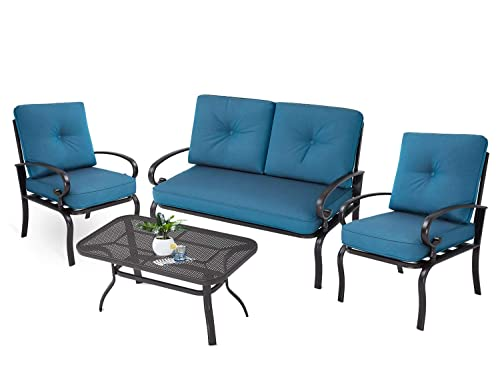 Oakmont Outdoor Patio Furniture Conversation Set Loveseat, 2 Chairs, Coffee Table with Cushion, Lawn Front Porch Garden, Wrought Iron Frame, Peacock Blue