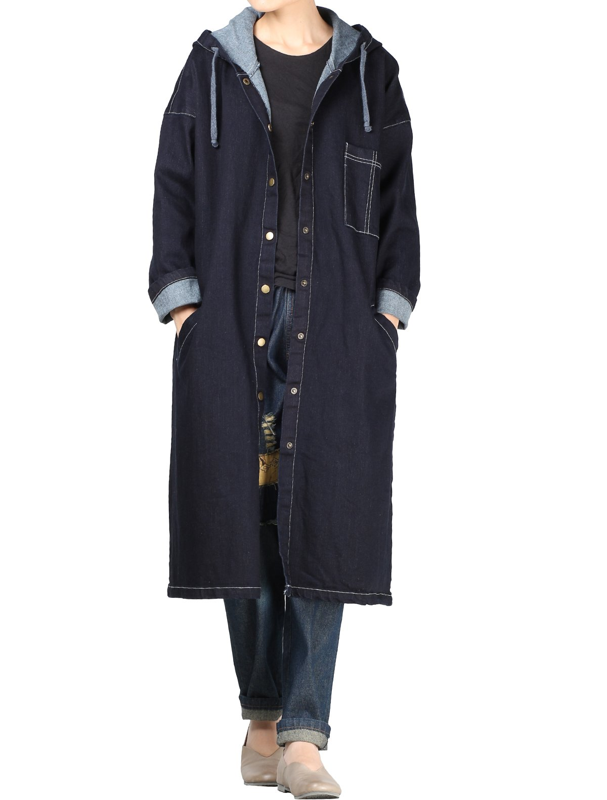 Mordenmiss Women's Snap Button-up Long Hoodie Coat L Style 2 Blue