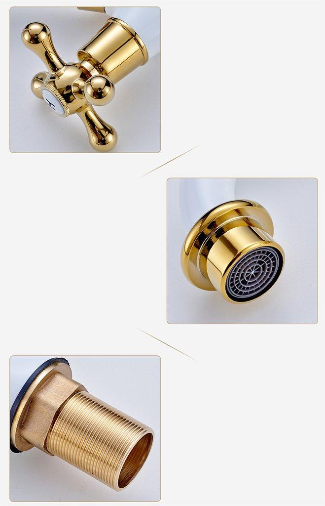 Ailin Home Color : #1 European Antique grifo de estilo europeo dorado de pintura al horno blanco grifo de lavabo cuenca de lavabo caliente y fr/ía grifo de agua
