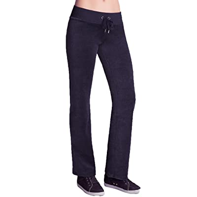 2B BEBE Women's Velour Velvet Track Pants Joggers Drawstring Pants in Charcoal Gray (Medium)