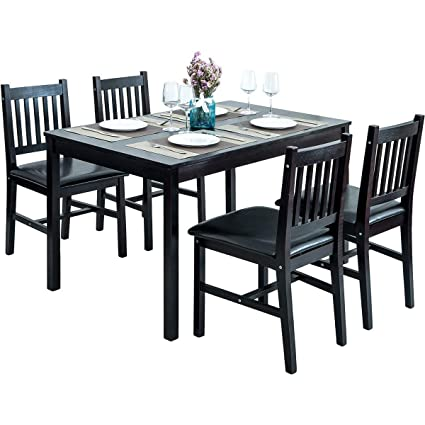 Amazon HarperBright Designs 488 Piece Dining Table Set Wood 48 Magnificent Table And Chairs Dining Room Plans