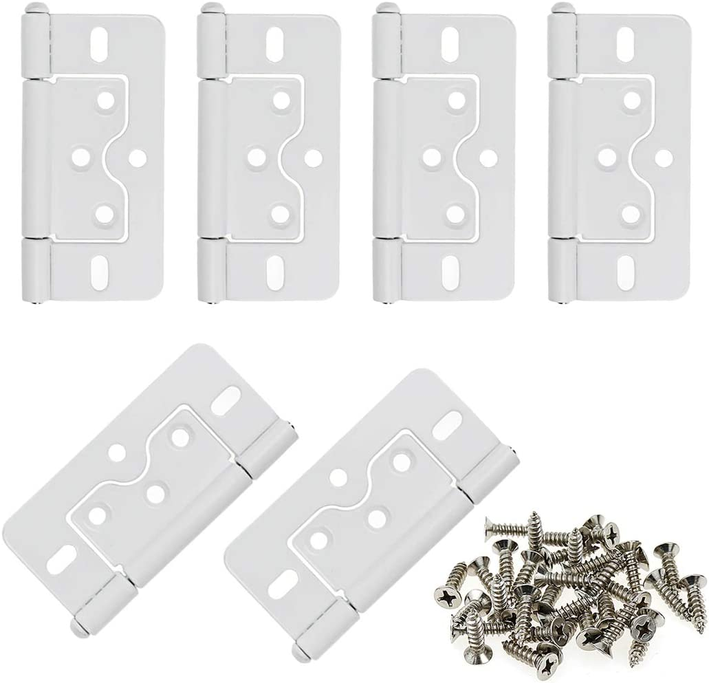 LICTOP 3 Inches Non-Mortise Hinge White Butterfly Door Hinges 6pcs