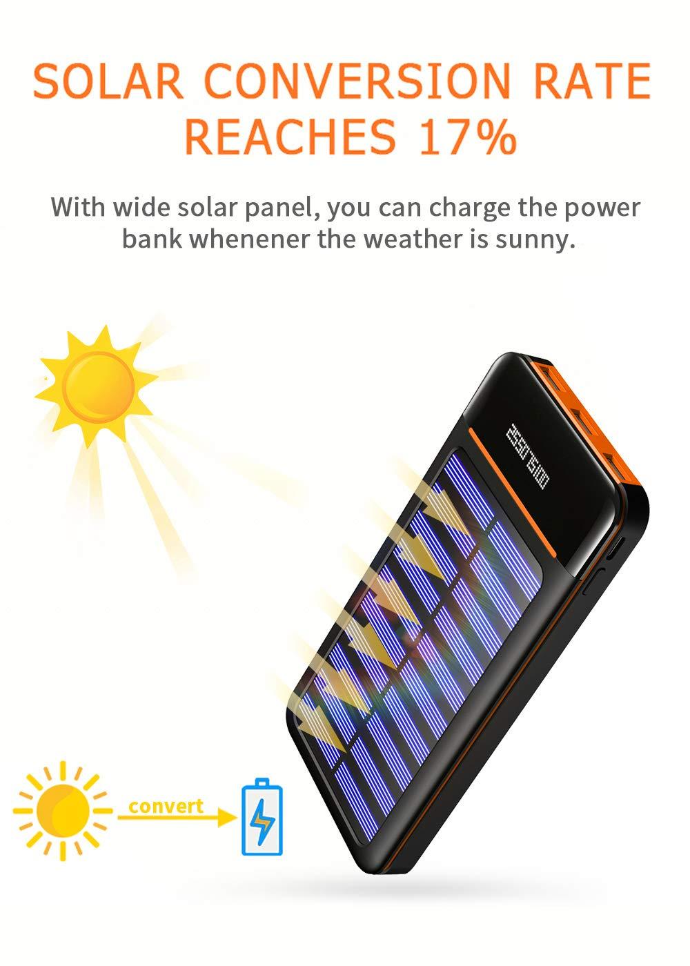 Amazon.com: Cargador solar portátil de alta capacidad de ...