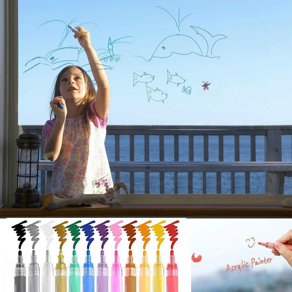 Pittura dArte SUPERSUN Pennarelli Acrilici 24 Colori Vetro Doppio Punta Pennarelli per Vernice Acrilica Permanenti per Tessuti Ceramica Legno Pietre Tazza Fai da Te Carta