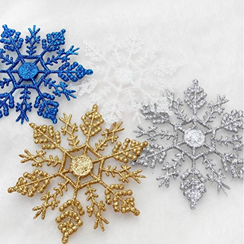 Peitero Plastic Glitter Snowflake Ornaments Tree Decorations, - Costume Elvis Diy