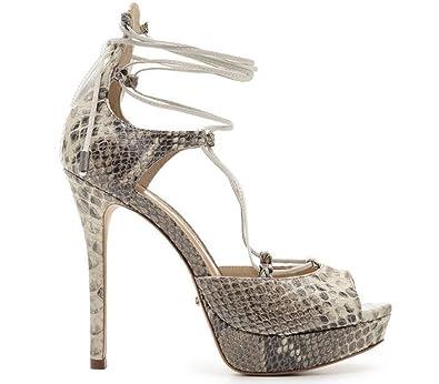 e088390e0e3 SCHUTZ Women s Hali Pearl Open Toe Leather Snakeskin High Platform Stiletto  Tie Up Heels (9.5
