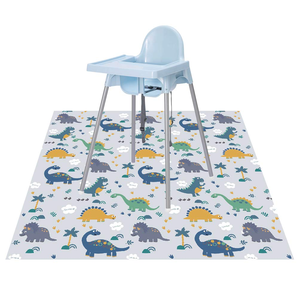 Splat Floor Mat for Under High Chair/Arts/Crafts by CLCROBD, 51'' Waterproof Anti-Slip Food Splash Spill Mess Mat, Washable Portable Picnic Mat and Table Cloth by CLCROBD