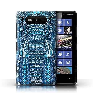 Kobalt® protector duro de nuevo caso / cubierta para el Nokia Lumia 820   Elefante-Azul Diseño   Aztec Animal Design colección