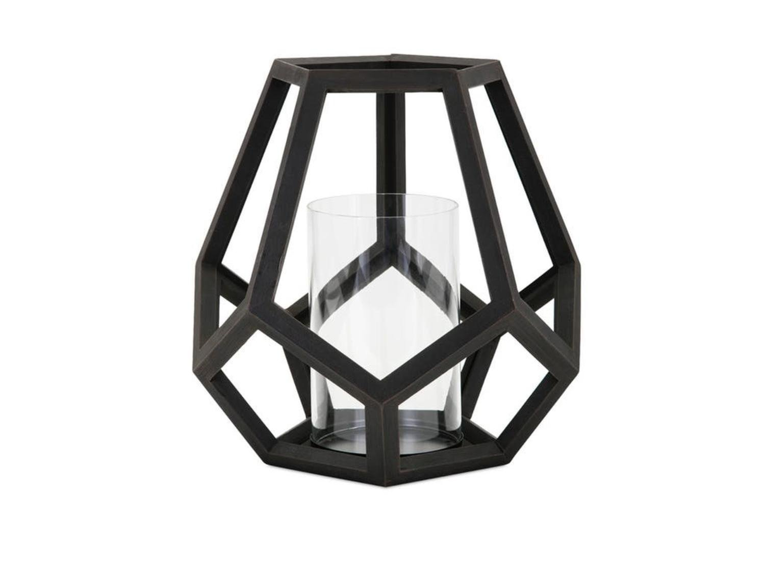 12.75'' Large Black Geometric ''Ubon'' Wood Pillar Candle Lantern