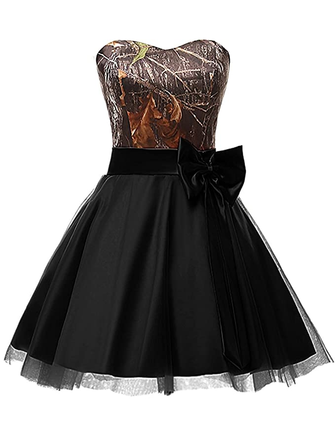 Review Zechun Women's Camo Tulle Homecoming Dress Short Bridesmaid Cocktail Party Gown