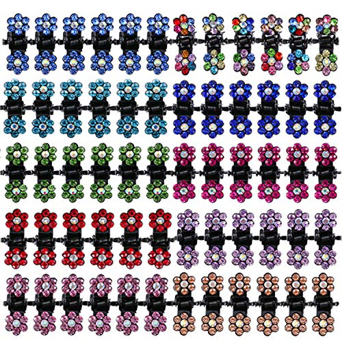 TecUnite 120 Pieces Baby Girls Hair Claw Clips Rhinestone Mini Flower Hair Clips Kids Women Hair Accessories (Mix Colors)