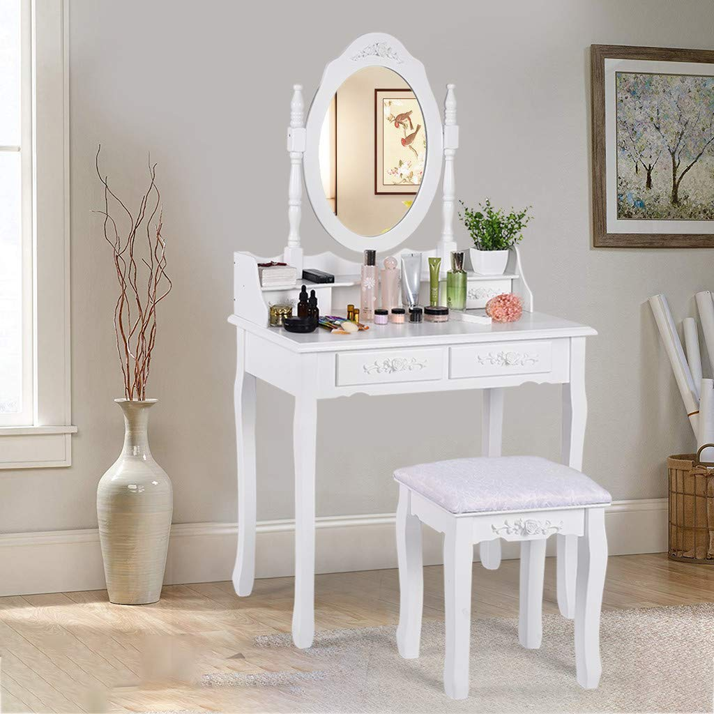 Aleola Vanity Table Set Mirror Wood Makeup Table 4 Drawer Storage Bedroom Dressing Table with Cushioned Stool for Kids Girls Women(White)