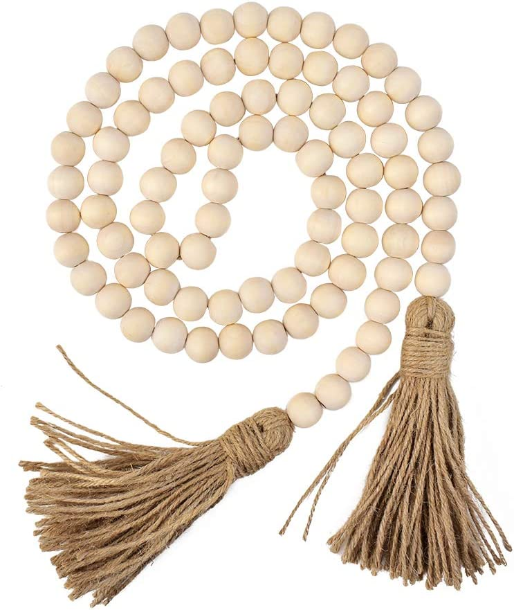 Hagao Wood Bead Garland Farmhouse Rustic Country Beads with Tassles Wall Hanging Décor