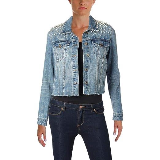 1e376ead310fb Sunset & Spring Womens Fall Frayed Denim Jacket Blue XS at Amazon Women's  Coats Shop