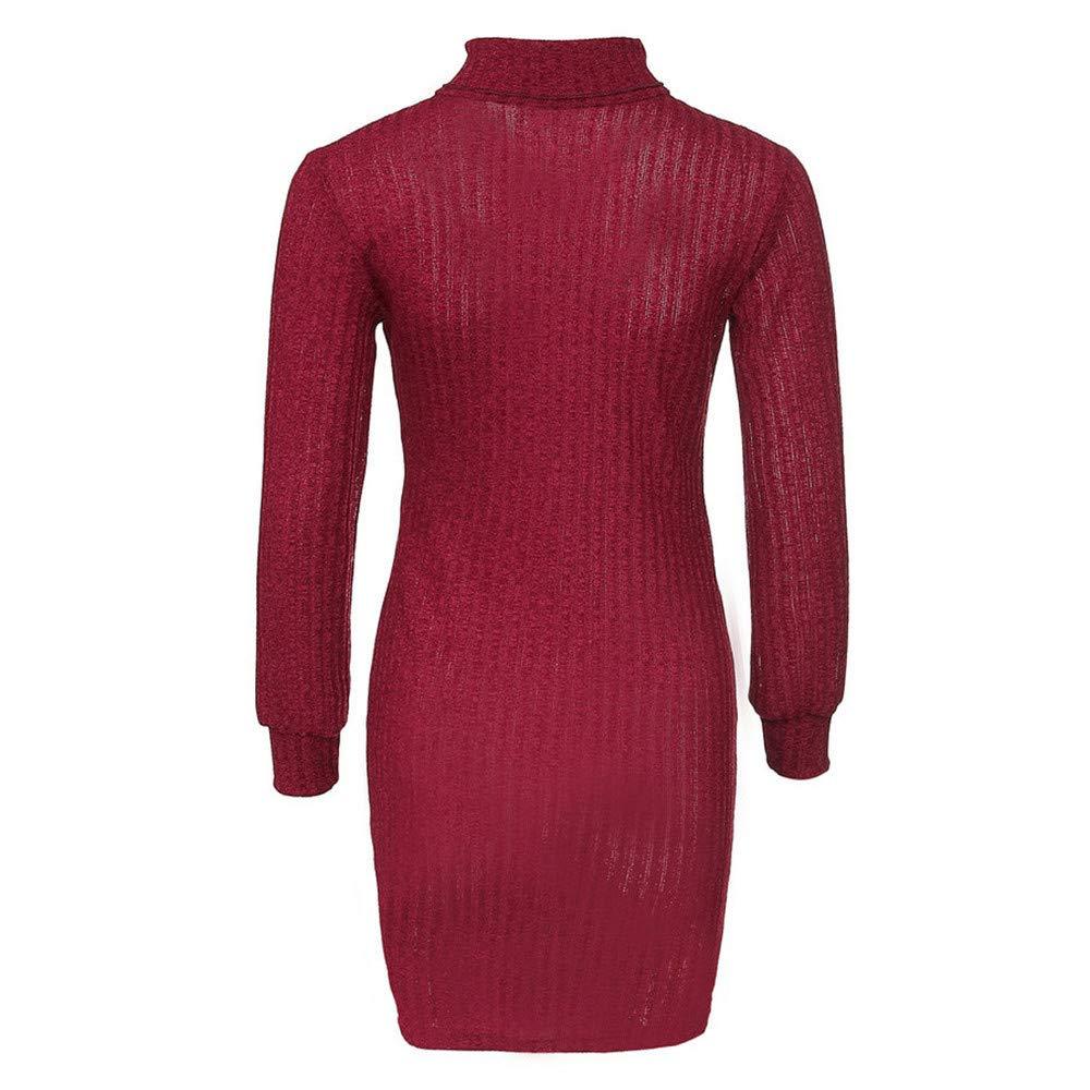 GiveKI Maglione Vestito Donna Invernale Lungo Maglione Felpa Pullover Eleganti Tumblr Autunno Inverno Lungo Collo Alto Vestiti Casual Lunga Tops Pullover Maglia Elasticizzata Knit Sweater