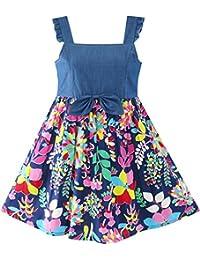 Sunny Fashion Flower Girls Dress Denim Back To School Sling Size 4-10