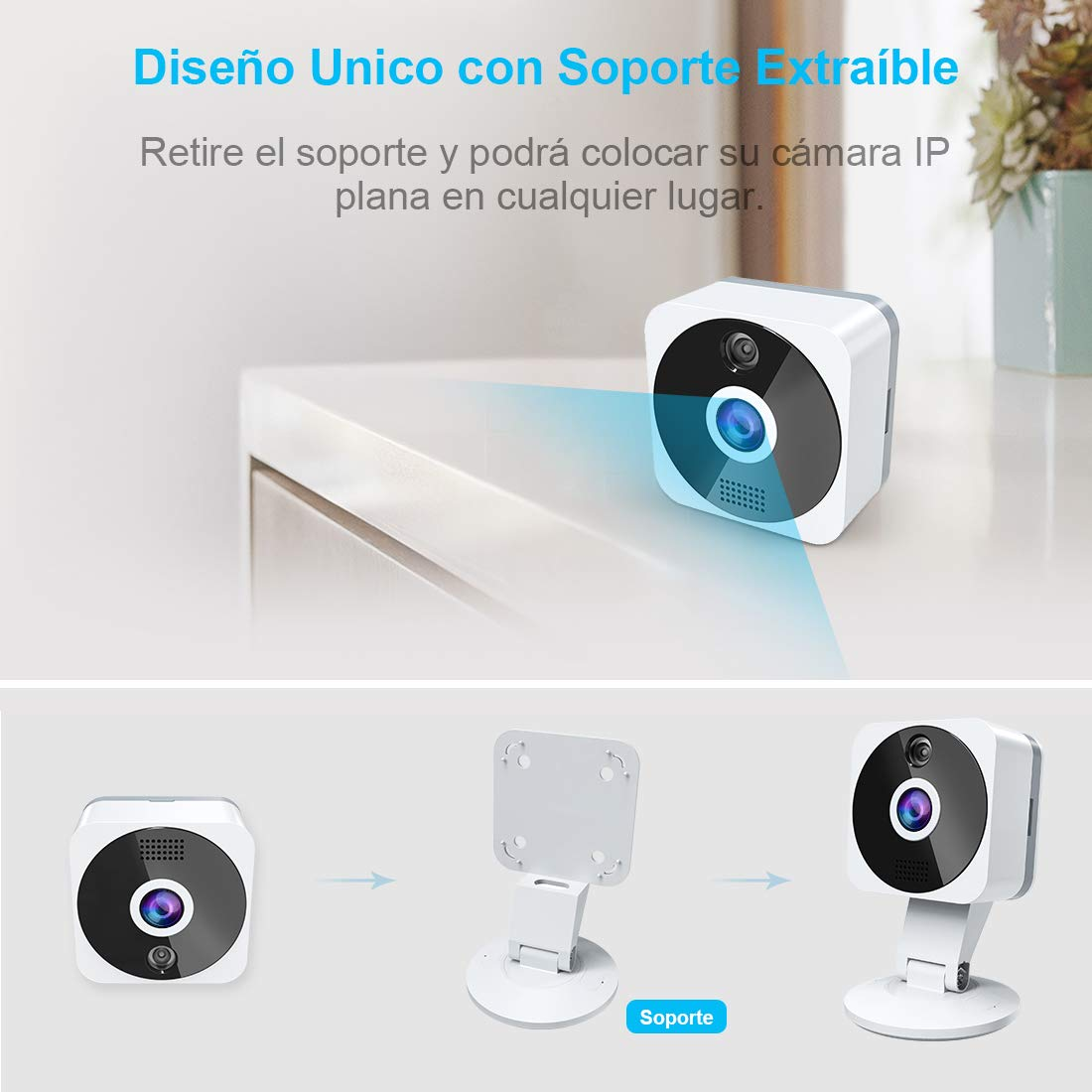 Camara IP WiFi, NIYPS HD 1080P Camara Vigilancia con Vision Nocturna, Audio de 2 Vías, Deteccion de Movimiento y Cloud, Camara de Seguridad Interior para ...
