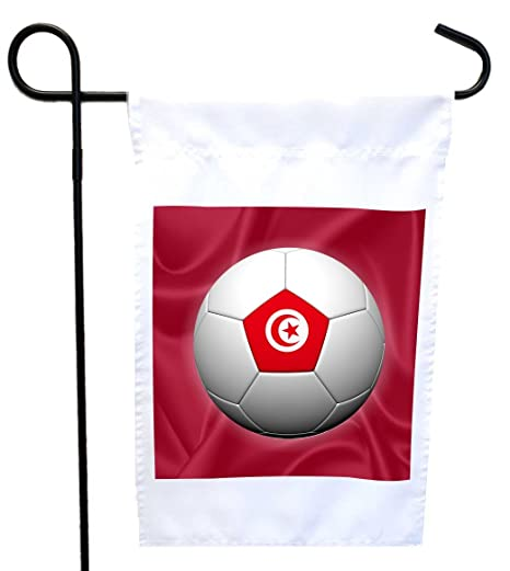 a451a4c598a Rikki Knight Russia World Cup 2018 Tunisia Football Soccer Flag Design  Garden Flag 12 x 18 Flag Size with 11 x 11 inch Image with Sturdy Black  Wrought Iron ...
