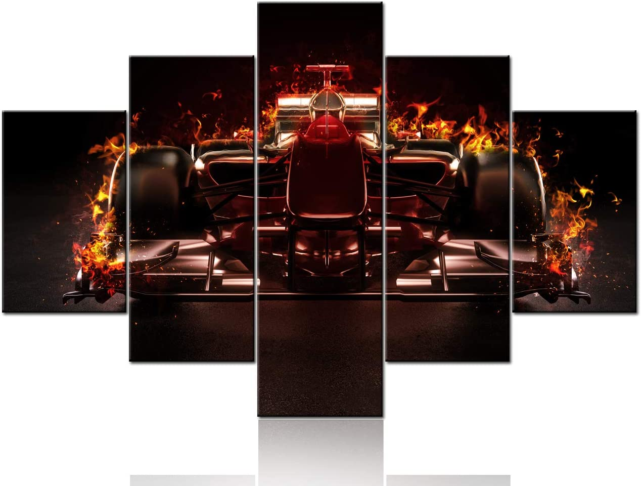 Amazon Com 5 Pieces Abstract Canvas Wall Art F1 Racing Car With Fire 3d Model Design On Black Background Picture Painting For Home Decoration Stretched And Framed Ready To Hang Prints And Poster