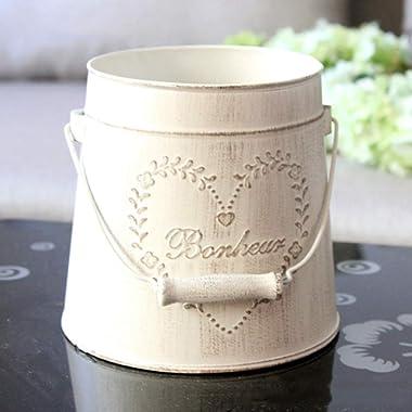 Yoillione Metal Flower Bucket, Vintage Shabby Chic Vase for Home/Garden Decor, American Country Style, Cream