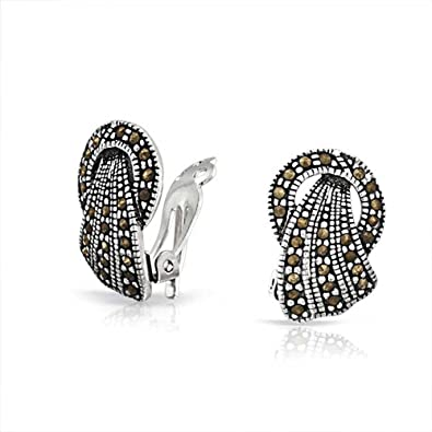 d43972d09 Image Unavailable. Image not available for. Color: Vintage Style Marcasite  Fan Circle Black Clip On Earrings For Women Non Pierced Ears 925 Sterling