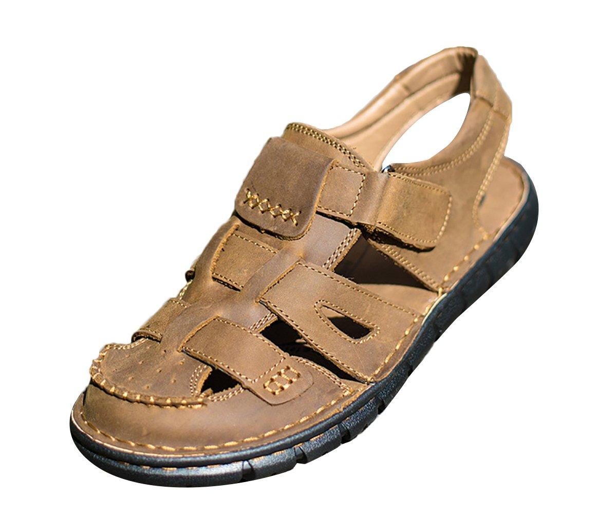 SK Studio Romanas Sandalias Hombre Trekking de Cuero Outdoor Transpirables Zapatos Con Velcro 37 EU|Marrón Claro