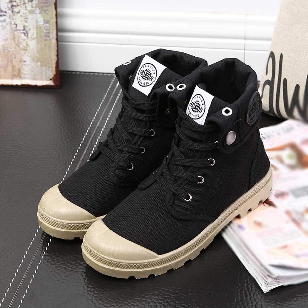 Qiusa Frauen Stiefel Palladium Palladium Palladium Stil Mode High-top-Sport Militär Ankle Schuhe Freizeitschuhe (Farbe   Schwarz Größe   3.5 UK) 3272e7