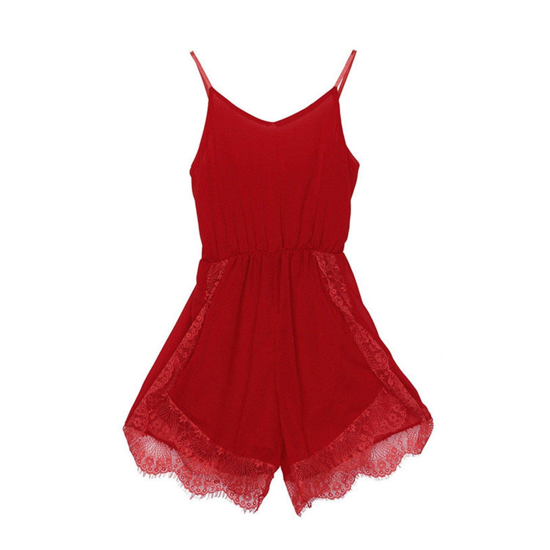 Women Chiffon Jumpsuit Bodysuit Playsuit Feminino S-XL Size July 3 red M