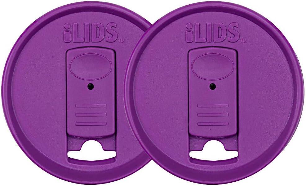 iLIDS Mason Jar Drink Lid, Regular Mouth, Mulberry, Pack of 2